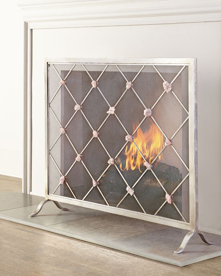 screen homebasix panel mirrored antique s silver fireplace