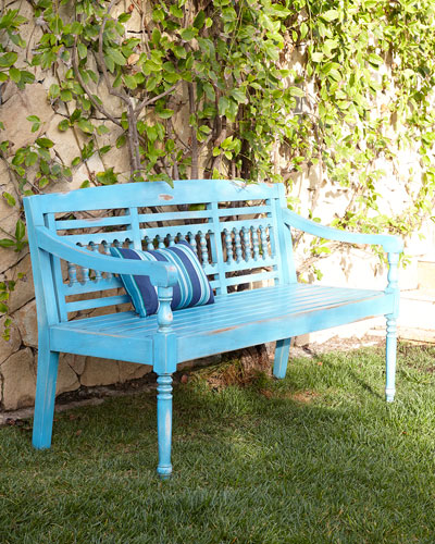 Maya Blue Teak Outdoor Bench