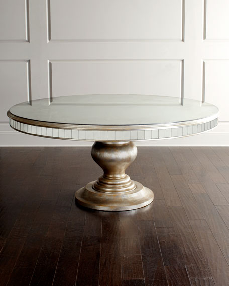 John Richard Collection Markham Leather Dining Chair Lisandra Antiqed Mirrored Round Dining Table