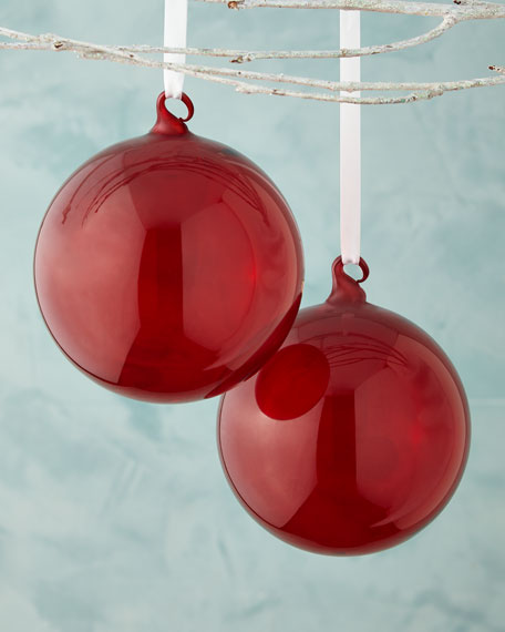 Jim Marvin Red Transparent Glass Ball Christmas Ornament Set Of 2