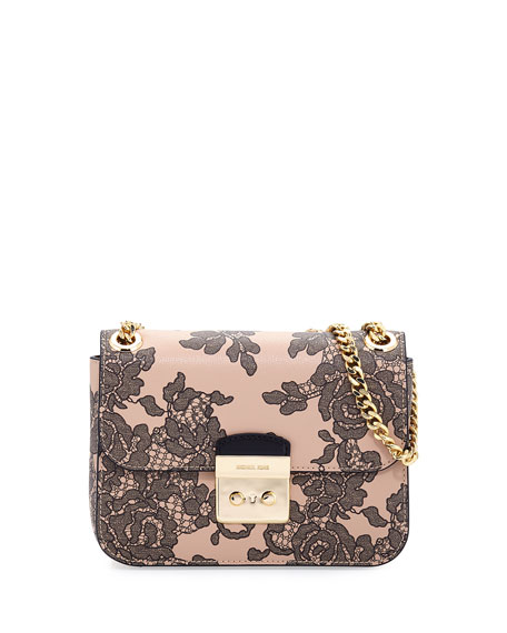 michael michael kors sloan medium lace print chain shoulder bag rh neimanmarcus com
