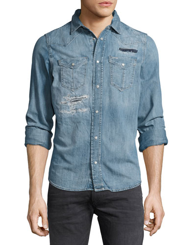Distressed Denim Western Shirt, Blue