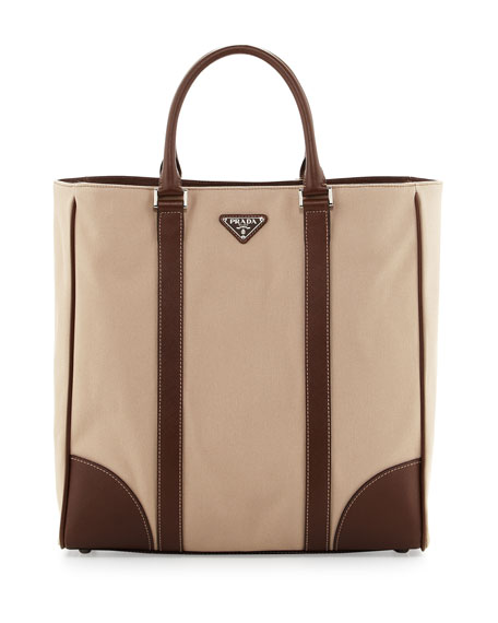 Canvas Leather Tote Bag Beige Brown
