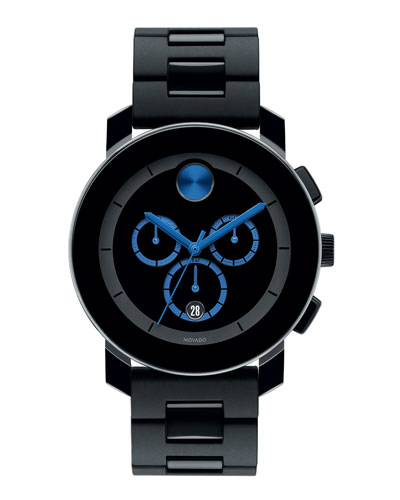 43.5mm Bold Chronograph Watch, Black/Blue