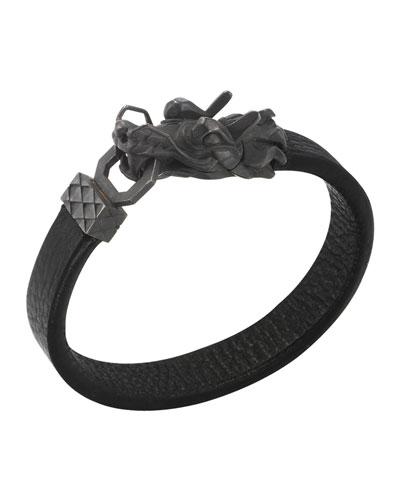 Naga Men's Dragon-Head Leather Bracelet, Black