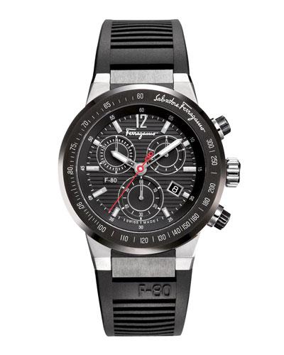 Rubber-Strap Chronograph Watch, Black