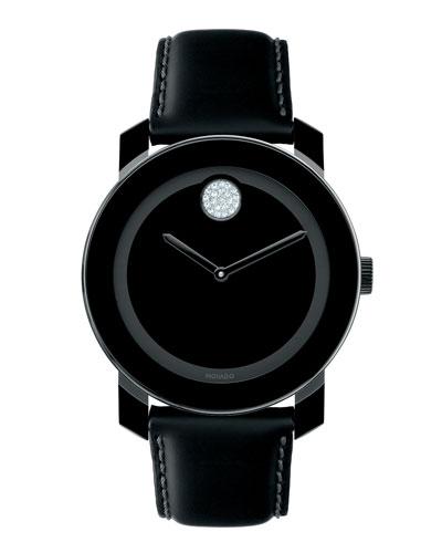 Bold Crystal Dot Leather Watch, Black