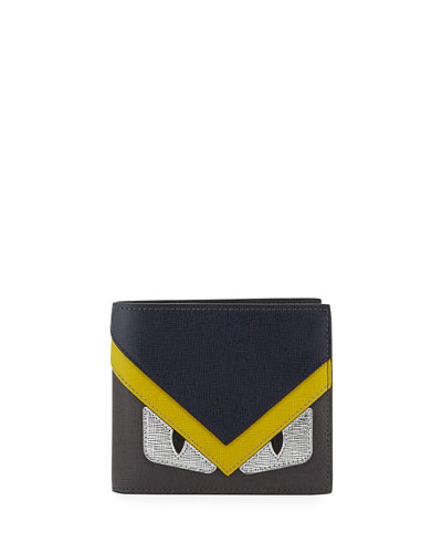 Monster Creature Leather Wallet, Black/Red