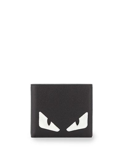 Monster Creature Leather Wallet, Black/Blue