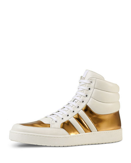 acab52f06109 Gucci Contrast Padded Leather High-Top Sneaker
