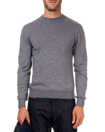 Leather Detail Crew Neck Sweater, Lt Gray