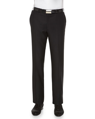 Cashmere/Silk Flat-Front Trousers