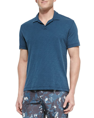 Short-Sleeve Slub Polo, Blue