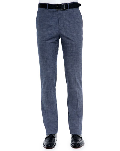Wool-Blend Micro-Texture Trousers, Blue