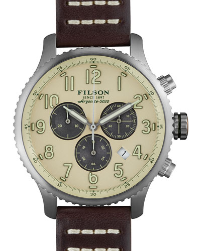 43mm Mackinaw Field Chrono Watch with Leather Strap, Brown/Cream