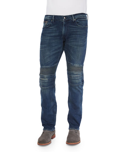 Piston Vintage-Wash Moto Denim Jeans, Blue