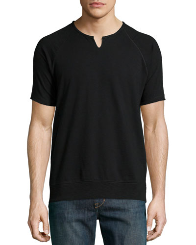 Raglan Short-Sleeve Sweatshirt, Black