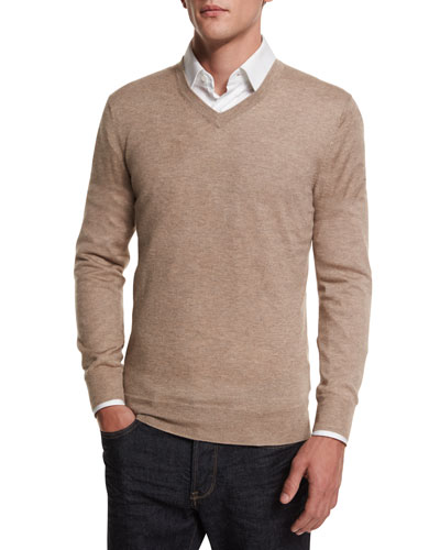 Cashmere-Silk V-Neck Sweater, Taupe