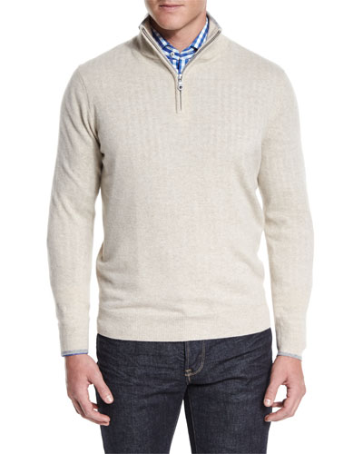 Tipped Half-Zip Cashmere Sweater, Tan