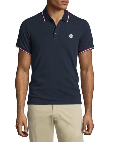 66760b576297 Moncler Navy-Tipped Short-Sleeve Pique Polo Shirt