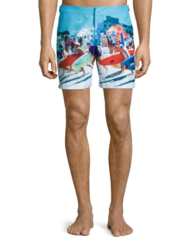 Bulldog Happy Sandboys Print Swim Trunks