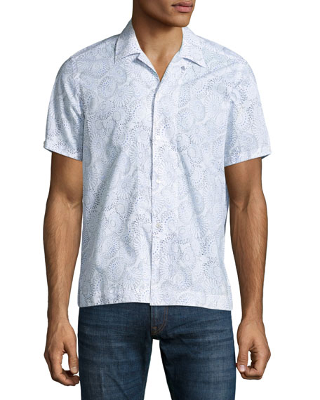 Culturata Floral Print Cuban Short Sleeve Shirt White Navy