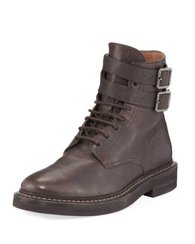 Buckle-Strap Leather Hiking Boot