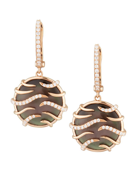 9c432b1be6d Frederic Sage Luna Mini 18k Rose Gold Diamond Mother-of-Pearl Earrings