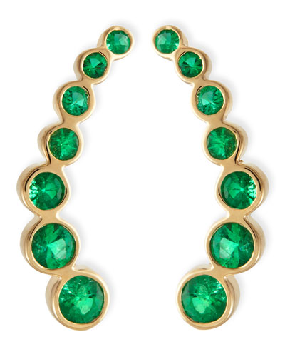18k Yellow Gold & Emerald Climber Earrings