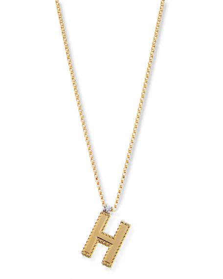 Roberto Coin Princess 18K Yellow Gold Diamond Initial Necklace, S
