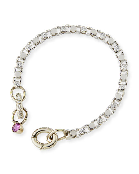 Oscar Heyman 18K White Gold Partial Diamond Watch Bracelet with Pink Sapphire Toggle OuMquXju