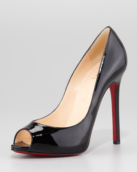 e118626723 Christian Louboutin Flo Patent Leather Red Sole Peep-Toe Pump, Black
