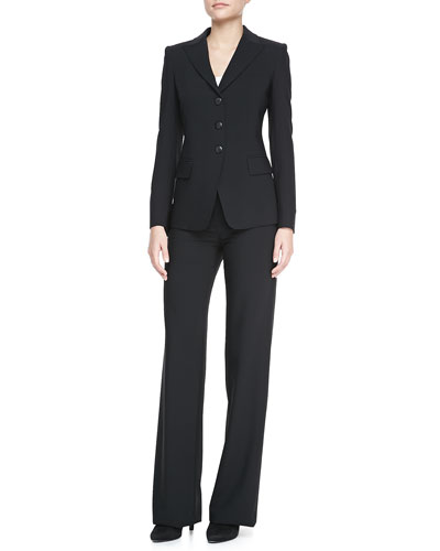 Three-Button Jacket, Poplin Button-Down Blouse & Classic Straight-Leg Pants