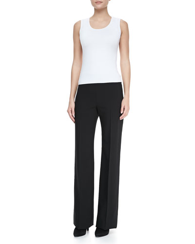 Sleeveless Stretch-Jersey Top Top & Wide-Leg Crepe Pants