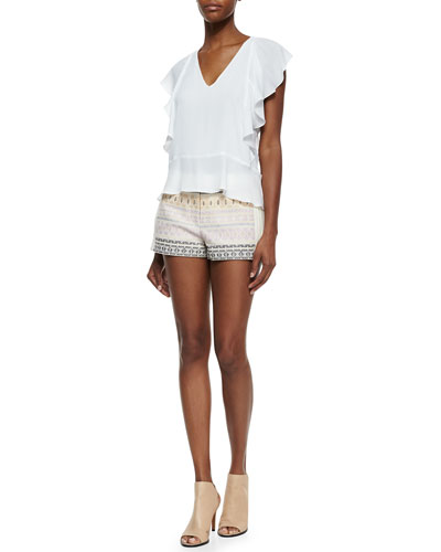 Lindle Ruffled V-Neck Blouse & Trey Embroidered Pique Shorts
