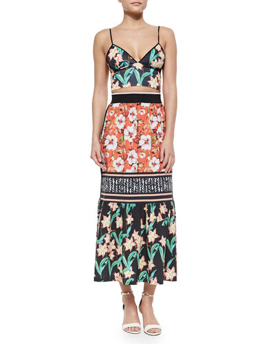 Floral Sunrise Printed Crop Top & Mixed-Print Skirt