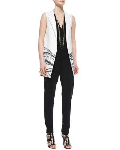 Aguilar Wave-Print Long Vest & Crepe Cutout Jumpsuit