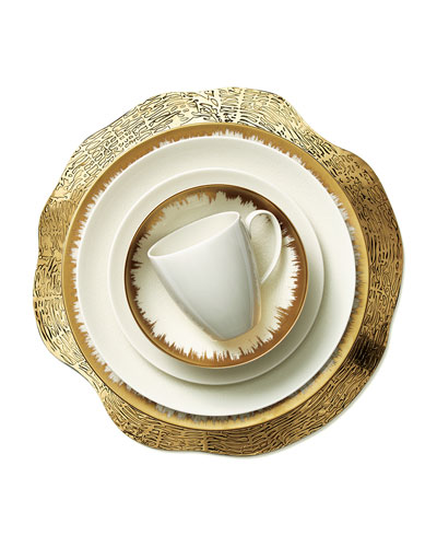 Opal Crackle & Golden Brushstroke Dinnerware