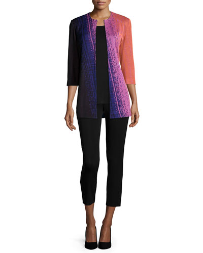 Colorful 3/4-Sleeve Long Jacket, Round Sleeveless Tank & Slim Ankle Pants