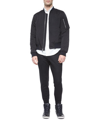 Manston Nylon Bomber Jacket, Dot-Print Long-Sleeve Woven Shirt & Slim-Fit Stretch Jogger Pants