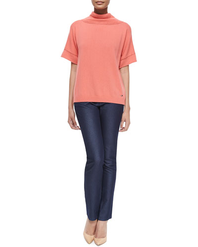 Short-Sleeve Cowl-Back Sweater & Sparkle Slim-Leg Classic Jeans