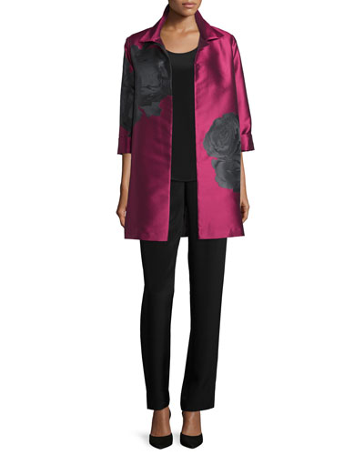 Rio Rose Open-Front Party Jacket, Long Silk Crepe Tank & Silk Crepe Straight-Leg Pants