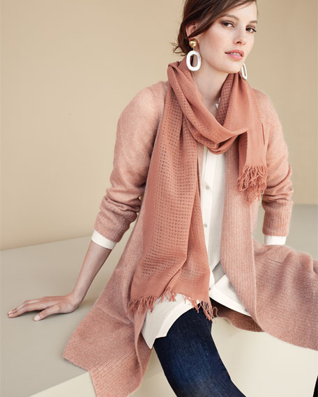 Washed Mohair-Blend Shawl Cardigan, Aztec Pink