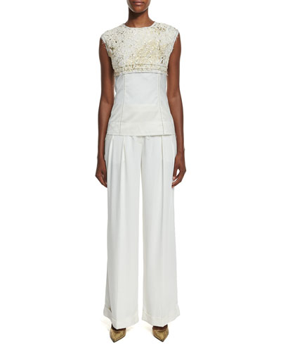 S/L Foiled Lace Paneled Top Pleated Wide-Leg Crepe Pants