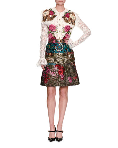 Floral Mixed Jacquard Miniskirt, Multicolor and Matching Items