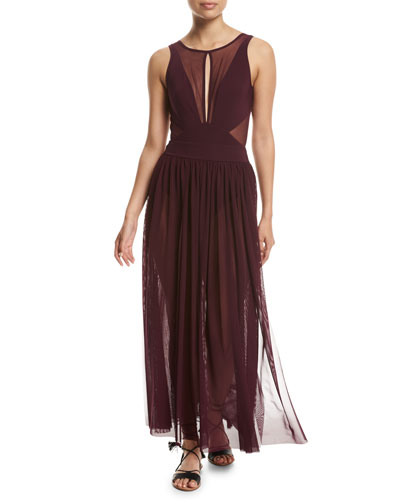 Aspire Layered Mesh Maxi Coverup Skirt, Purple and Matching Items