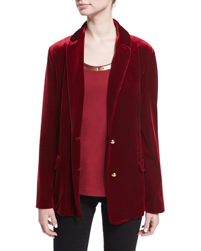 Stretch-Velvet Two-Button Blazer, Plus Size and Matching Items