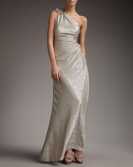 David Meister One-Shoulder Metallic-Print Gown