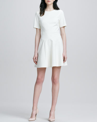 Fit-and-Flare Seamed Dress