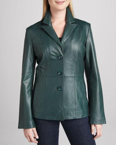 Basic Leather Three-Button Blazer